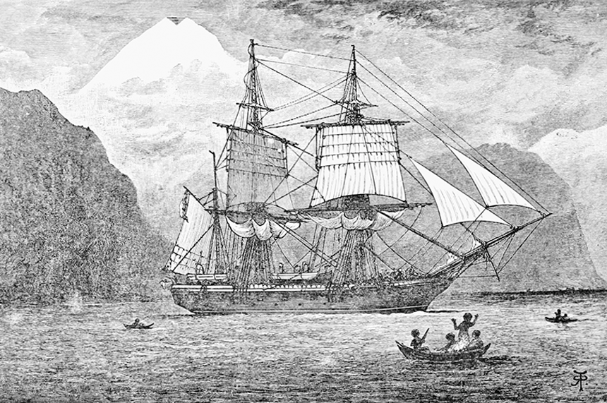 HMS Beagle in the Straits of Magellan, 1900, Popular Science Monthly Volume 57, R. T. Pritchett