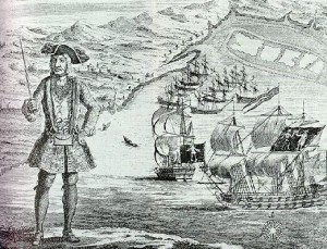 Gente de Galápagos: grabado del pirata Bartholomew Roberts